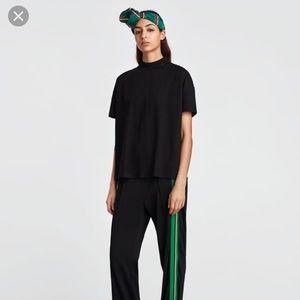 Zara boxy fit mockneck 100% cotton t-shirt Sz M